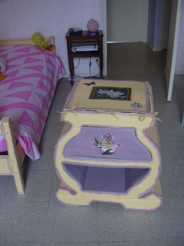 table de nuit tout en carton. Black Bedroom Furniture Sets. Home Design Ideas