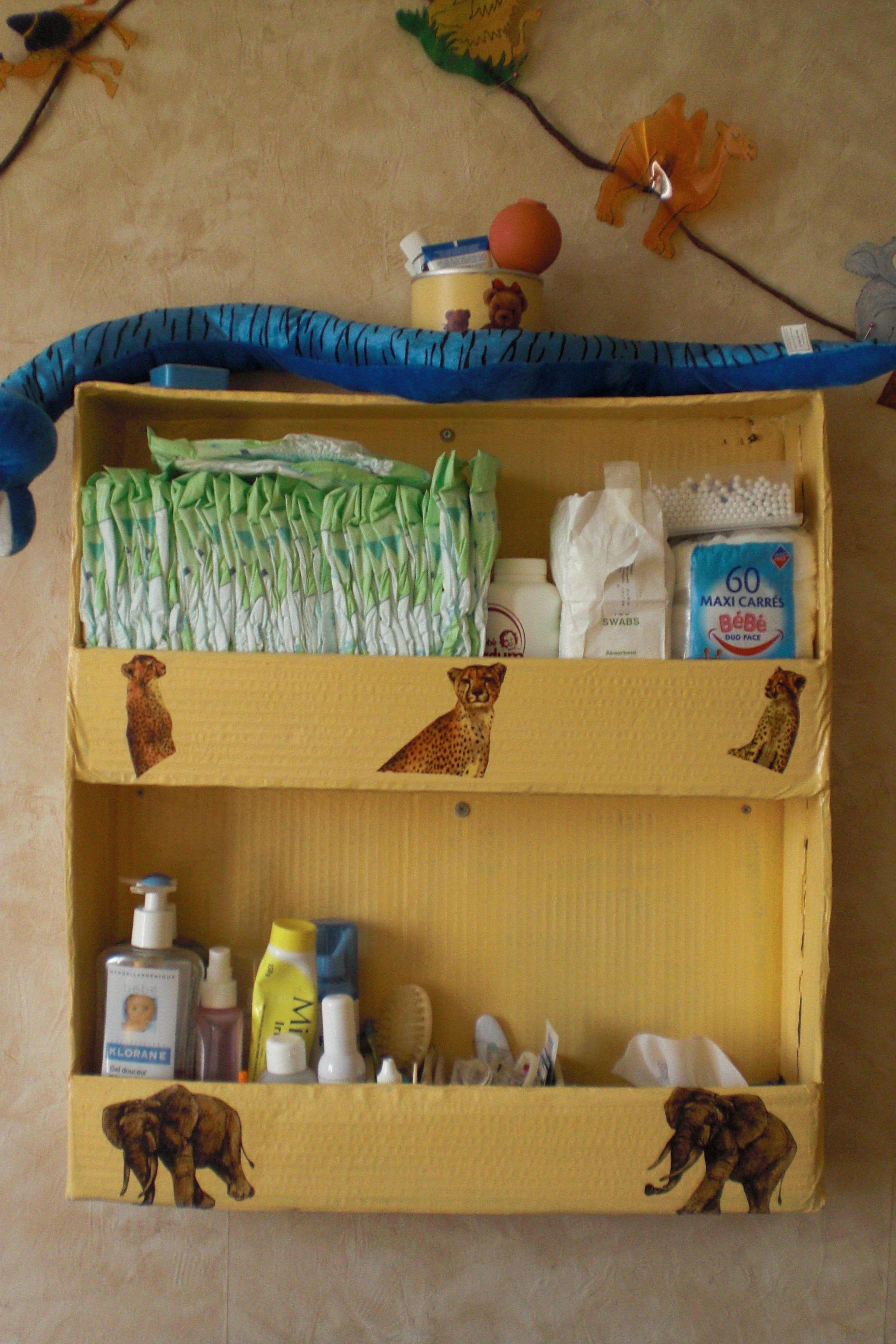 Organiseur de table langer tout en carton - Organiseur table a langer a suspendre ...